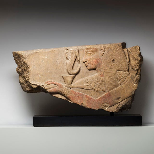 Egyptian Revival Limestone Fragment of a Relief Panel Depicting Seti I Offering Incense For Sale - Image 3 of 3