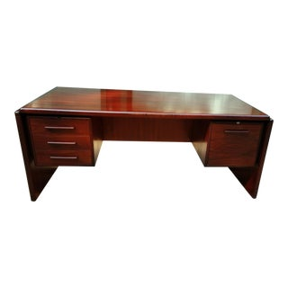 Large Dyrlund Rosewood and Mahogany Executive Desk Mid-Century Modern