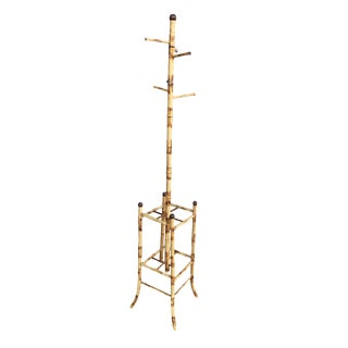 Mid Century Tiger Bamboo Coat Rack W/ Umbrella Stand For Sale