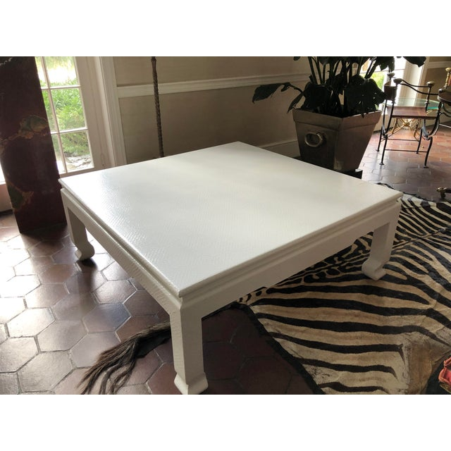 Large Square Asian Modern Linen Wrapped Coffee Table in the Style of Karl Springer For Sale - Image 9 of 12