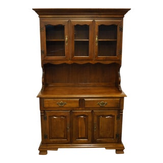 Tell City Solid Hard Rock Maple Colonial Buffet & Hutch For Sale