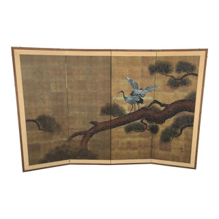 Vintage Asian Silk Folding Screen For Sale