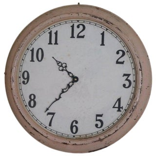 Clock From Factory Wall, Early 20th Century Industrial, Battery Operated For Sale
