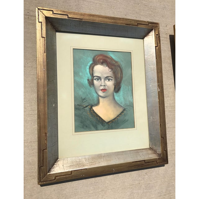 Mid-Century Modern Vintage Chalk Pastels Female Portrait Drawing For Sale - Image 3 of 9
