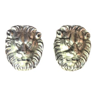 Lion's Head Metal Hardware Door Knockers/Handles - 2 Pieces For Sale