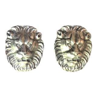 Lion's Head Metal Hardware Door Knockers/Handles - 2 Pieces For Sale