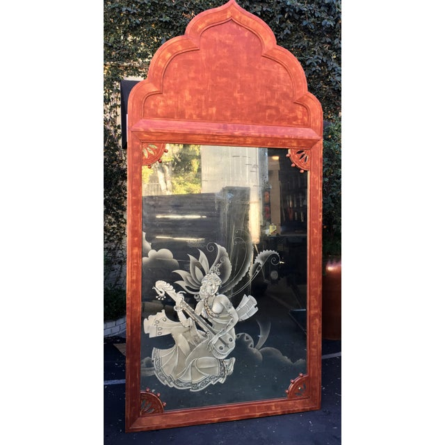 Asian Huge Mid 20th Century Tony Duquette Red Bombay India Mirror For Sale - Image 3 of 5