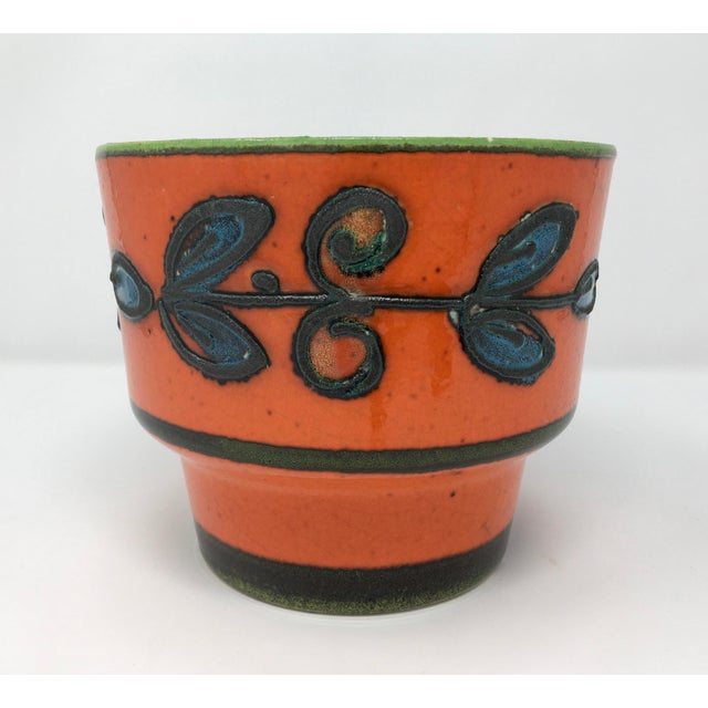 Red Mid-Century Vulcanic Glaze Red Ceramic Planter For Sale - Image 8 of 9