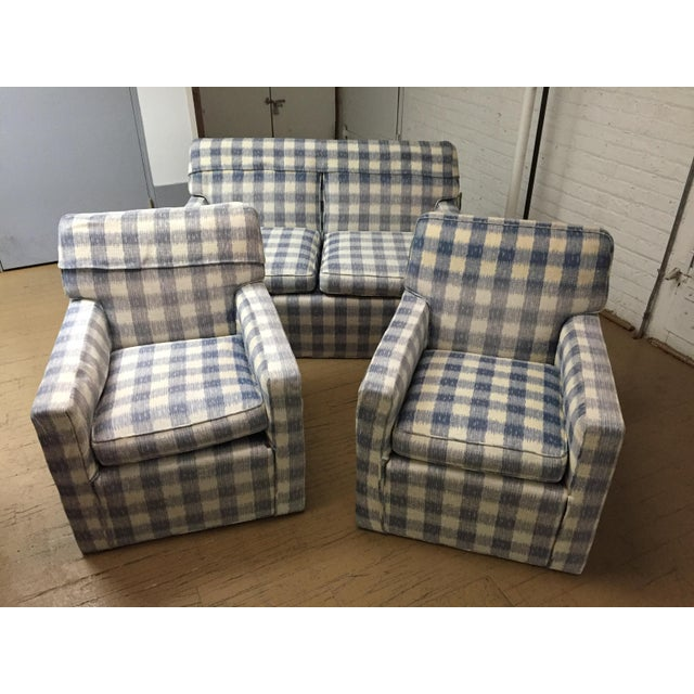 Mid-Century Brunschwig & Fils Upholstered Down Filled Arm Chairs For Sale - Image 10 of 11