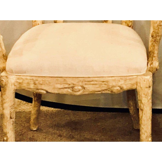 Fabric Hollywood Regency Style Tree Trunk Form Designed Arm / Desk Chairs - a Pair For Sale - Image 7 of 14