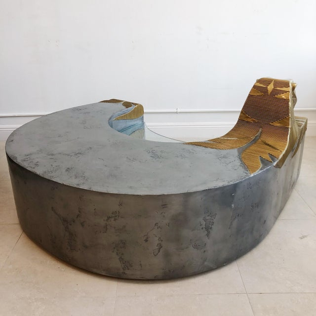 Wood Vintage Sculptural Tiger Large Oversized Bench Coffee Table by Anne Herbst (1923-2007) For Sale - Image 7 of 11