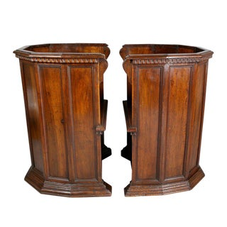 Pair of Italian Renaissance Style Walnut Barrel Back Chairs For Sale
