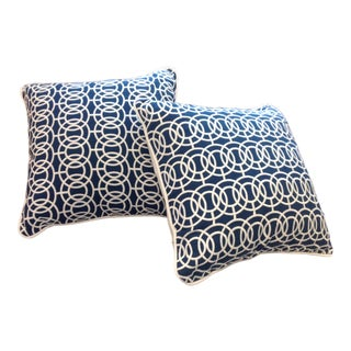 Custom Designer Scalamandre Fabric Pillows - a Pair For Sale