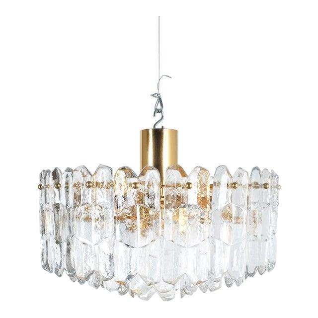 j.t. Kalmar Palazzo Chandelier Gold Brass Glass Lamp, Austria 1960 For Sale