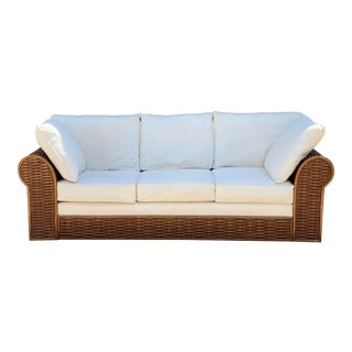 Vintage Michael Taylor Style Rattan Wicker Sofa For Sale