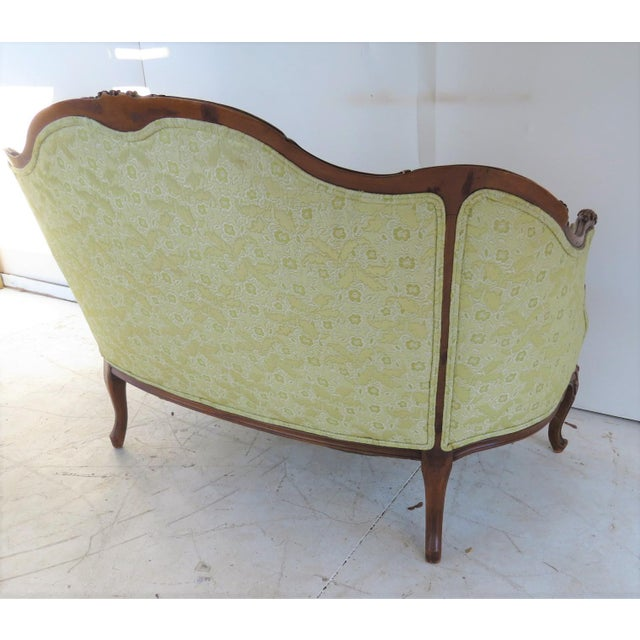 Louis XV Style Light Green Tufted Settee For Sale - Image 4 of 8