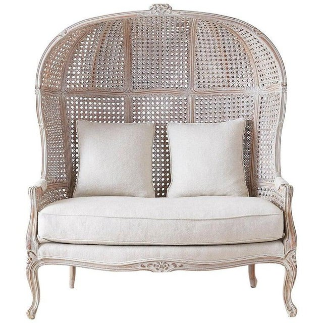 French Louis XV Style Hooded Balloon Canopy Porter's Settee For Sale - Image 13 of 13
