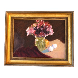 Original Vintage Still Life Painting Floral W/Eggs