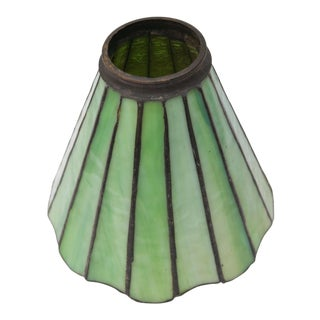 Early 20th Century Antique Green Leaded Stained Glass Lamp Shade For Sale