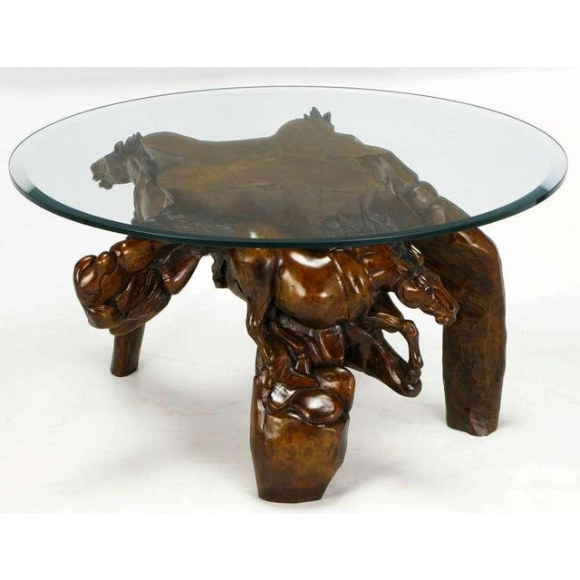 Incredible Equine Carved Wood Coffee Table - Image 4 of 9