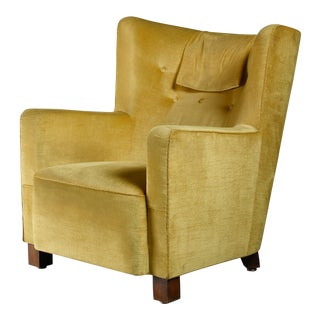 Margareta Köhler Yellow Club Chair, Sweden, 1930s For Sale
