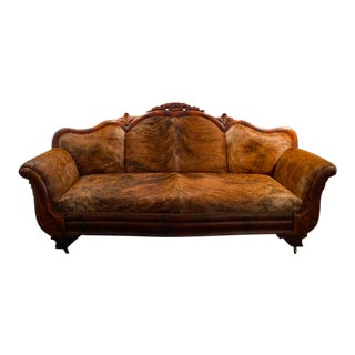 French Settee- Vintage French Country- 1800s-Reupholstered Brindle Cowhide For Sale