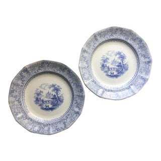 Antique English Transfer Ware Plates-A Pair For Sale