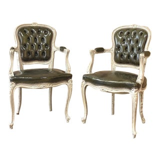 Pair Antique French Louis XV Painted Armchairs With Leather For Sale