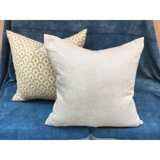 Hand Blocked Indian Linen Pillows For Sale - Image 4 of 5