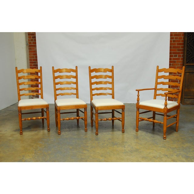 English Ladder Back Dining Chairs - Set of 8 - Image 2 of 10