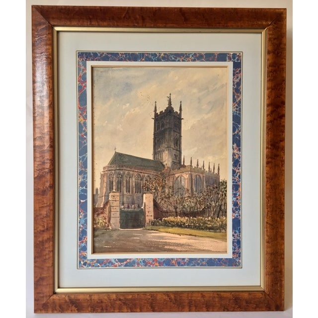 Original antique watercolor painting of an English Church circa 1866. Painted and signed by Herman Axel Haig on the lower...