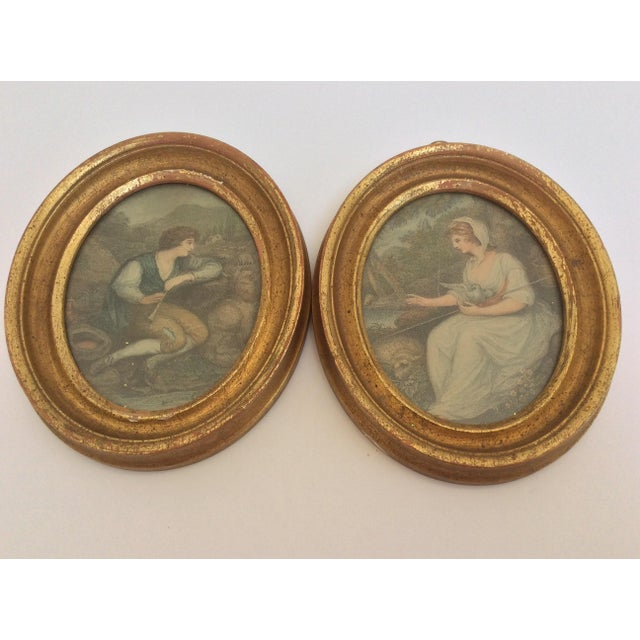 Traditional Antique Oval Framed Antique Mezzotints - A Pair For Sale - Image 3 of 9