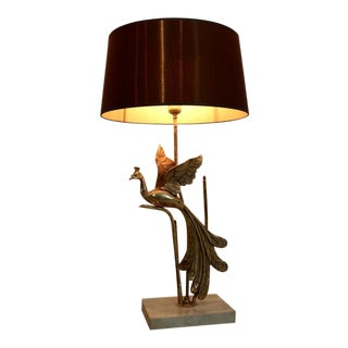Sculptural Gilt Metal on Travertine Peacock Table Lamp or Floor Lamp, 1970s Belgium