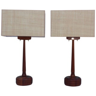 Mid-Century Modern Swedish Teak Table Lamps For Sale