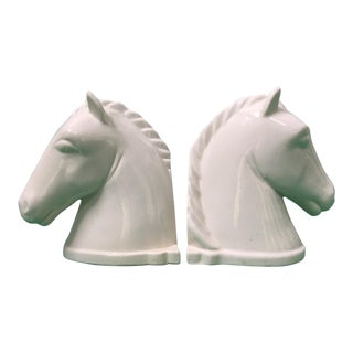 Pair of Ceramic Horse Head Bookends For Sale