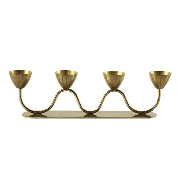 Vintage Gunnar Ander for Ystad Metall Swedish Modern Candelabra, 1950's For Sale