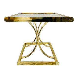 Vintage Hollywood Regency Brass & Glass Side Table For Sale