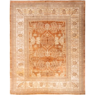 20th Century Traditional Hand Knotted Beige and Gold Oushak Rug For Sale