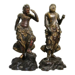 17th Century Japanese Dharma Guardian Figurines - A Pair For Sale