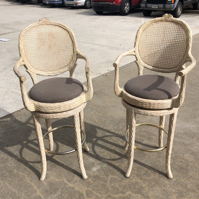 Wood Hollywood Regency Faux Bois Cream Caned Swiveling Stools** - a Pair For Sale - Image 7 of 7