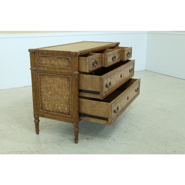 Maitland Smith Regency Style Leather Wrapped Chest Dresser For Sale - Image 9 of 12