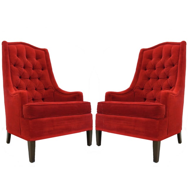 Tufted Red Velvet Hollywood Regency Chairs - Pair - Image 1 of 4