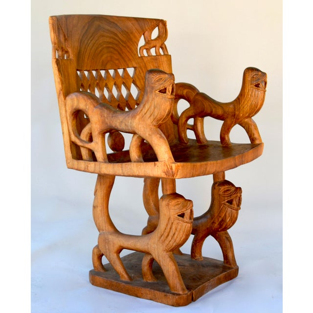 African Benin Tribal Wood Chair For Sale - Image 4 of 10