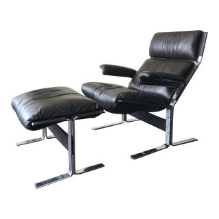 Mid-Century Modern Richard Hersberger Leather Lounge Chair & Ottoman For Sale