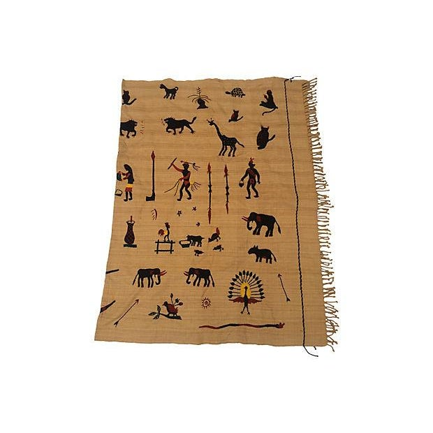Naga Hill Tribe Primitive Embroidered Story Throw For Sale