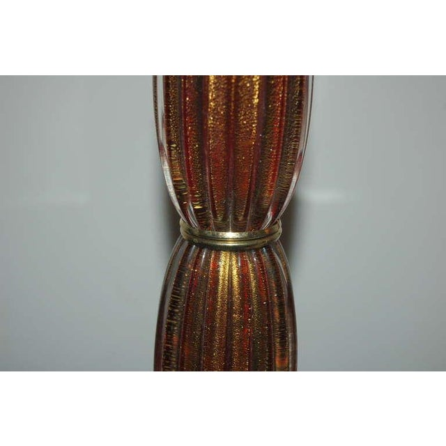 Murano Vintage Murano Glass Table Lamps Cranberry Cream For Sale - Image 4 of 10