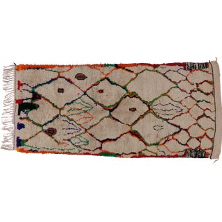 Moroccan Azilal Runner With Postmodern Memphis Style, Shag Hallway Runner - 4'4 X 9'5 For Sale