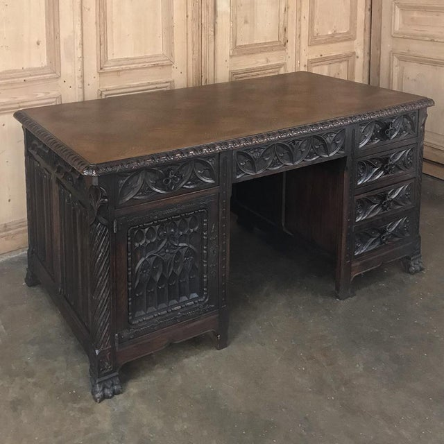 French Antique French Gothic Parquet Top Desk For Sale - Image 3 of 13