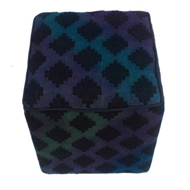 Asian Arshs Donovan Blue/Purple Kilim Upholstered Handmade Ottoman For Sale - Image 3 of 8