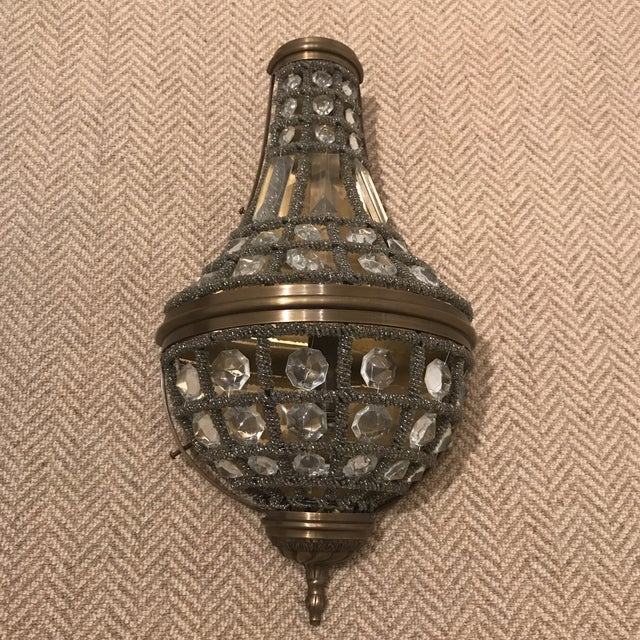 Like new pair of Restoration Hardware 19th C. Crystal Sconces. Sconces work perfectly. Free Domestic Shipping